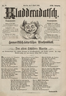 Kladderadatsch, 18. Jahrgang, 9. April 1865, Nr. 17