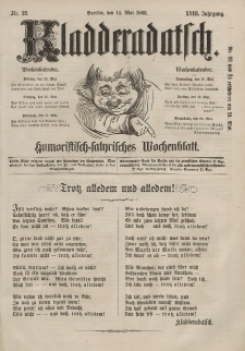 Kladderadatsch, 18. Jahrgang, 14. Mai 1865, Nr. 22