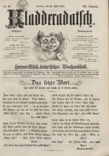 Kladderadatsch, 19. Jahrgang, 29. April 1866, Nr. 19