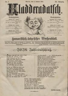 Kladderadatsch, 20. Jahrgang, 6. Januar 1867, Nr. 1