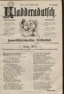 Kladderadatsch, 20. Jahrgang, 27. Januar 1867, Nr. 4
