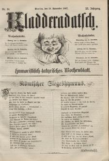 Kladderadatsch, 20. Jahrgang, 10. November 1867, Nr. 51