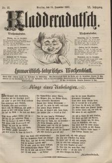 Kladderadatsch, 20. Jahrgang, 15. Dezember 1867, Nr. 57