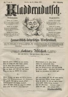 Kladderadatsch, 21. Jahrgang, 16. Februar 1868, Nr. 7/8