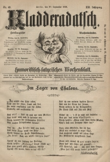 Kladderadatsch, 21. Jahrgang, 20. September 1868, Nr. 43