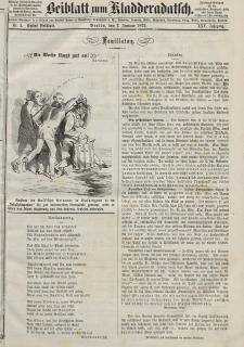 Kladderadatsch, 25. Jahrgang, 7. Januar 1872, Nr. 1 (Beiblatt)
