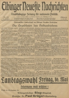 Elbinger Neueste Nachrichten, Nr. 129 Mittwoch 14 Mai 1913 65. Jahrgang