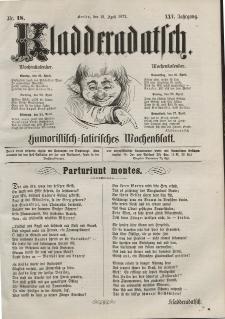 Kladderadatsch, 25. Jahrgang, 21. April 1872, Nr. 18