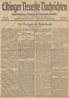 Elbinger Neueste Nachrichten, Nr. 140 Sonntag 25 Mai 1913 65. Jahrgang