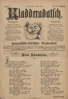 Kladderadatsch, 38. Jahrgang, 8. Februar 1885, Nr. 6