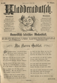 Kladderadatsch, 41. Jahrgang, 10. Juni 1888, Nr. 27