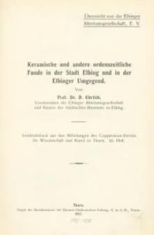 Keramische und andere ordenszeitliche Funde in der Stadt Elbing und in der Elbinger Umgegend