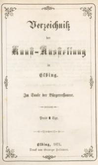 Verzeichniss der Kunst – Ausstellung zu Elbing