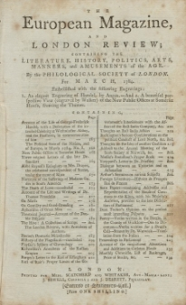 The European Magazine. Vol. V, März, 1784