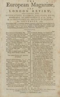 The European Magazine. Vol. VI, September, 1784