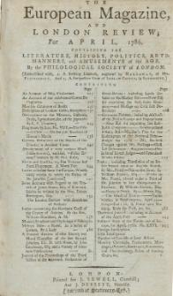 The European Magazine. Vol. IX, April, 1786