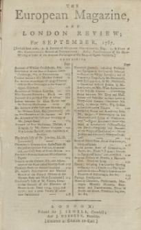 The European Magazine. Vol. XII, September, 1787