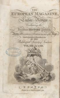 The European Magazine. Vol. XIII, Januar, 1788