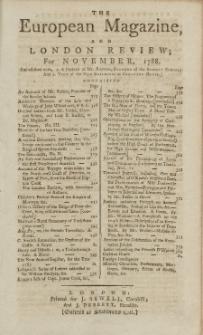 The European Magazine. Vol. XIV, November, 1788