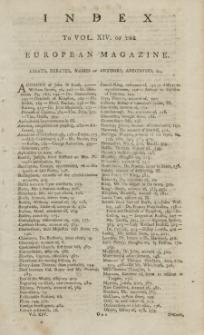 Index: The European Magazine. Vol. XIV, 1788