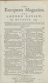 The European Magazine. Vol. XVI, Oktober, 1789