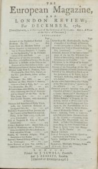 The European Magazine. Vol. XVI, Dezember, 1789