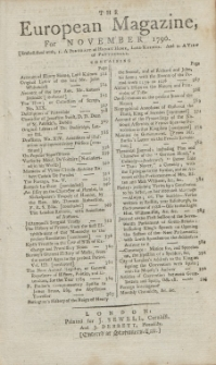 The European Magazine. Vol. XVIII, November, 1790