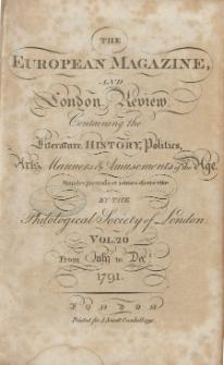 The European Magazine. Vol. XX, Juli, 1791