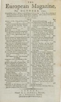The European Magazine. Vol. XX, Oktober, 1791