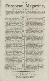 The European Magazine. Vol. XX, Dezember, 1791