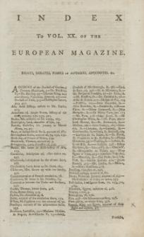 Index: The European Magazine. Vol. XX, 1791