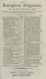The European Magazine. Vol. XXII, November, 1792