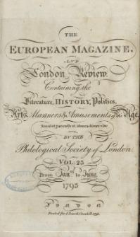 The European Magazine. Vol. XXIII, Januar, 1793