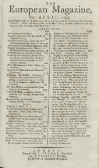 The European Magazine. Vol. XXIII, April, 1793