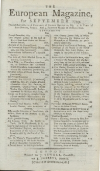 The European Magazine. Vol. XXIV, September, 1793