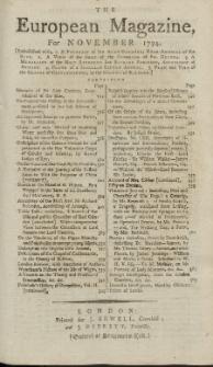 The European Magazine. Vol. XXVI, November, 1794