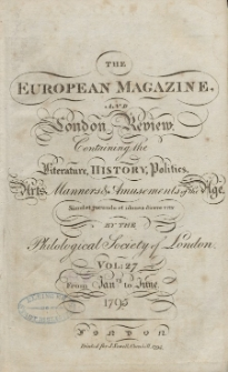 The European Magazine. Vol. XXVII, Januar, 1795