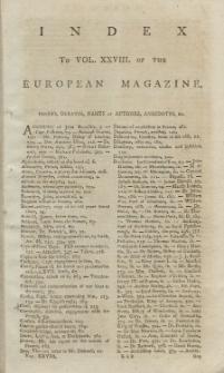 Index: The European Magazine. Vol. XXVIII, 1795