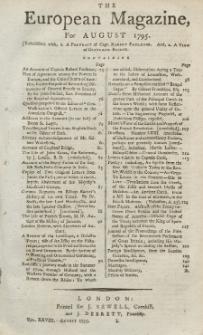 The European Magazine. Vol. XXVIII, August, 1795