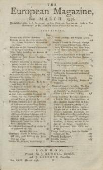 The European Magazine. Vol. XXIX, März, 1796
