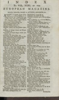 Index: The European Magazine. Vol. XXXI, 1797