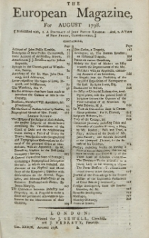 The European Magazine. Vol. XXXIV, August, 1798
