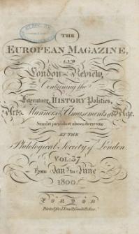 The European Magazine. Vol. XXXVII, Januar, 1800