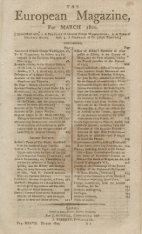 The European Magazine. Vol. XXXVII, März, 1800