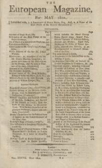 The European Magazine. Vol. XXXVII, Mai, 1800