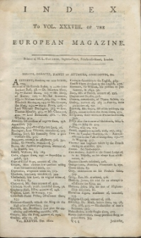 Index: The European Magazine. Vol. XXXVIII, 1800