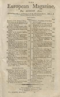The European Magazine. Vol. XXXVIII, August, 1800
