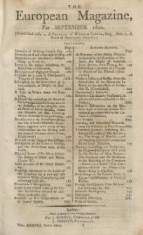 The European Magazine. Vol. XXXVIII, September, 1800
