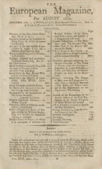 The European Magazine. Vol. LXII, August, 1802