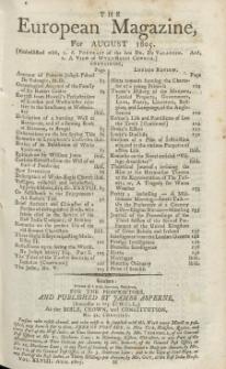 The European Magazine. Vol. XLVIII, August, 1805